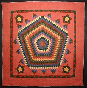 Fifteen Point Star Quilt: Circa 1880; Pennsylvania