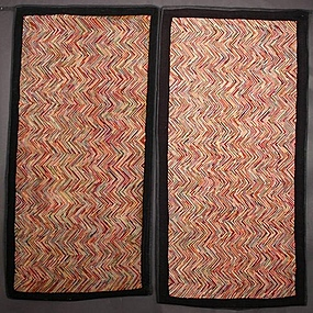 Pair of Herringbone Pattern Hooked Rugs