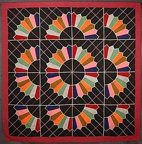 Mennonite Dresden Plate Quilt: Circa 1900; Pennsylvania