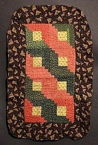 Log Cabin Doll Quilt: Circa 1880; Pennsylvania