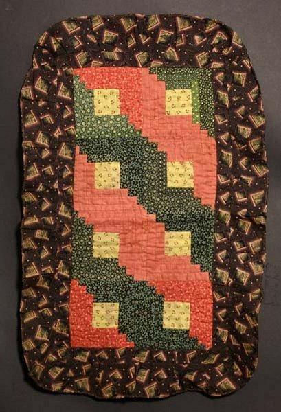 Log Cabin Doll Quilt: Circa 1880; Pennsylvania