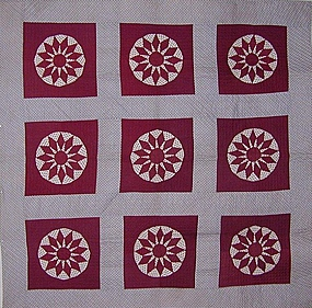 Sunflower Pattern Quilt, New England, Ca 1860