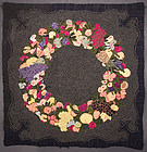 Fruit and Floral Wreath Hooked Rug: Circa 1930