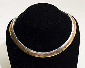 Los Castillo Silver, Copper and Brass Choker Necklace