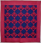 Red & Blue Mennonite Baskets Quilt, Ca. 1900