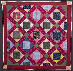 Economy Patch Crib Quilt: Circa 1890; Pennsylvania