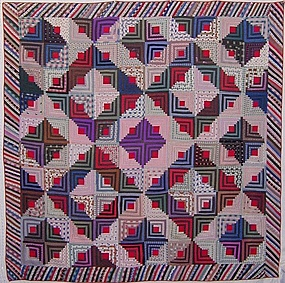 Light and Dark Log Cabin Quilt: Ca. 1880