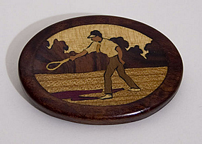 Inlaid Wood Tennis Brooch; Circa 1930