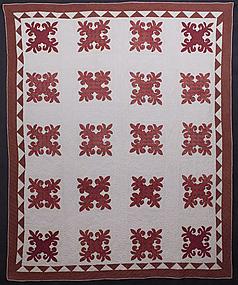 Fleur-de-lis Applique Quilt: Circa 1870; Pa.