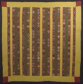 Nine Patch in Bars Quilt: Circa 1870; Pennsylvania