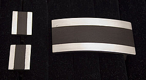 Silver& Ebony Belt Buckle and Cuff Links by Sigi