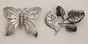 Hector Aguilar Butterfly and Flower Brooches