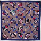 Wool Crazy Quilt; Ca. 1890; Mennonite Penn.