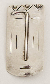 Modernist Sterling Silver Face Brooch