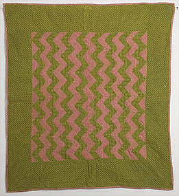 Streak of Lightning Crib Quilt: Circa 1870; Pa.