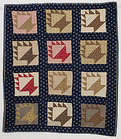 Cake Stand Baskets Crib Quilt: Ca. 1880; Maine