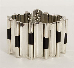 Antonio Pineda Sterling and Onyx Bracelet