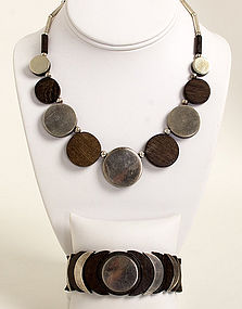 Los Castillo Sterling and Ebony Necklace & Bracelet Set