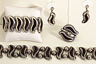 Mexican Silver Belt; Bracelet; Pin and Earrings Set