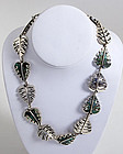 Sterling and Azure Malachite Leaves Necklace