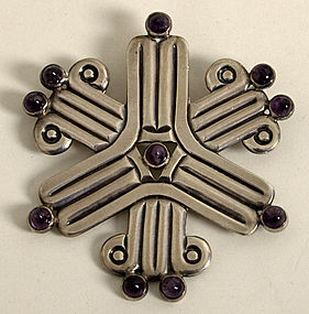 William Spratling Brooch/ Pendant with Amethysts