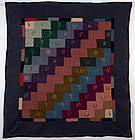 Amish Bricks Quilt with Embroidery: Circa 1930