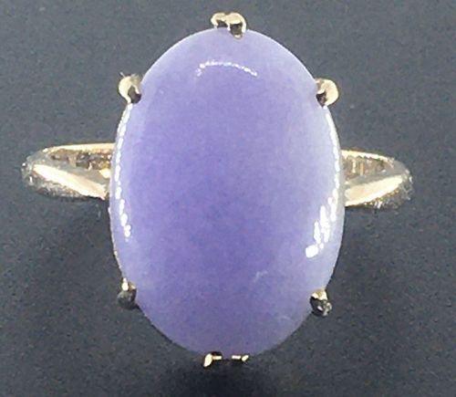 A fine lavender jadeite ring, A jade