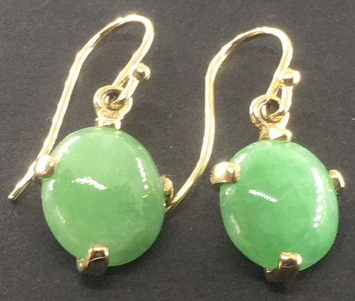 A fine pair of natural untreated A jadeite earrings