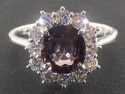 A fine colour-change Spinel and diamond ring