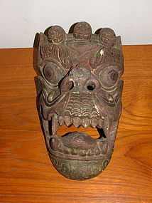 19th C Tibetan Wood Mask