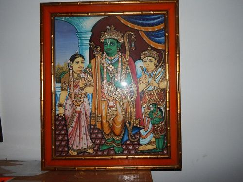 A large 19th C Indian Thanjavur Painting