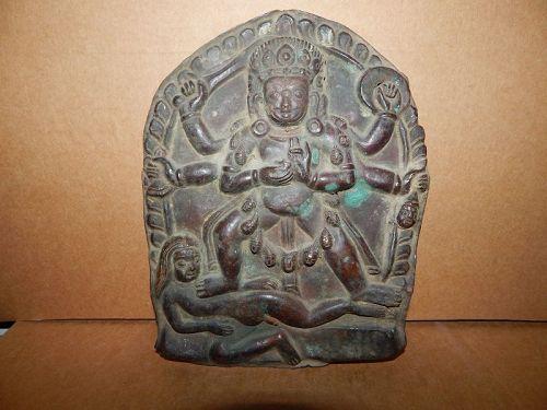 17th C Nepal Bronze plaque of Bhairava