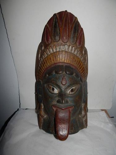 Large 19th C Indian Wood mask of Kali