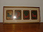 Four 18th C Antique Indian Miniature  Playing Cards