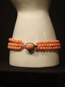 Coral Bead Bracelet 3 Strands