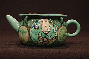 Enamel Decorated Antique Yixing Teapot Child Medallion