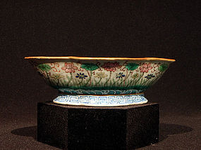 Late Qing or Republic Famille Rose Quatrefoil Bowl