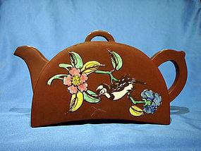 Tile or Half Moon Shaped Enamel Antique Yixing Teapot