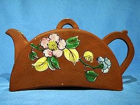 Tile or Half Moon Shaped Enamel Decorated Yixing Teapot