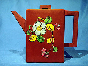 Large Rectangular  Enamel Decorated Yixing Teapot