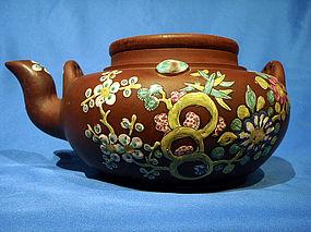 Antique Squat Shape Enamelled Yixing Teapot