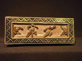 Antique Wood Panel in Painted Scholar Box with Tray