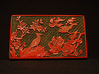 3 Color Carved Lacquer  Box with Birds and Flowers