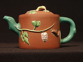 Enamel Decorated Yixing Teapot Squirrels and Grapes