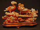 Chinese Carved Agate Cormorant Group