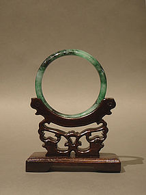 Jadeite Bangle Bracelet Mottled Greens