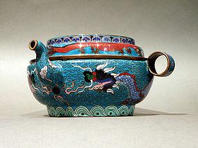 Cloisonne Kendi Type Teapot with Dragon Designs