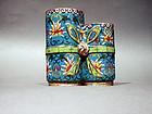 Cloisonne Double Brush Pot with Lotus Designs