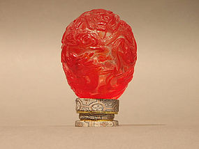Peking Glass Egg Red Over Clear with Dragons