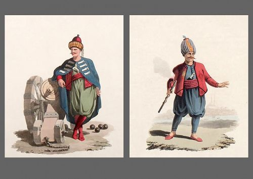TURKISH ARTILLERY Military Costume Turkey Goup Two Antique Prints